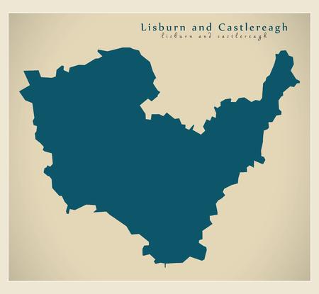 Mappa del distretto di Lisburn e Castlereagh dell'Irlanda del Nord