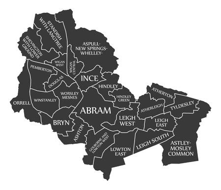 Wigan City Map England UK labelled black illustration 向量圖像