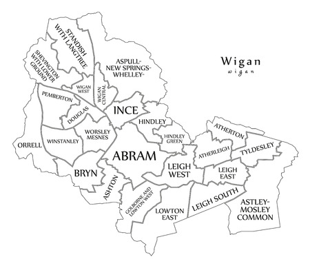 Modern City Map - Wigan city of England with wards and titles UK outline map