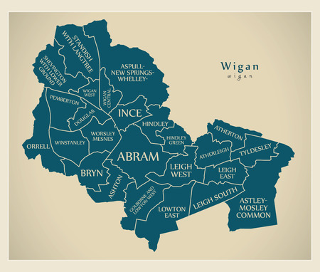 Modern City Map - Wigan city of England with wards and titles UK Illustration