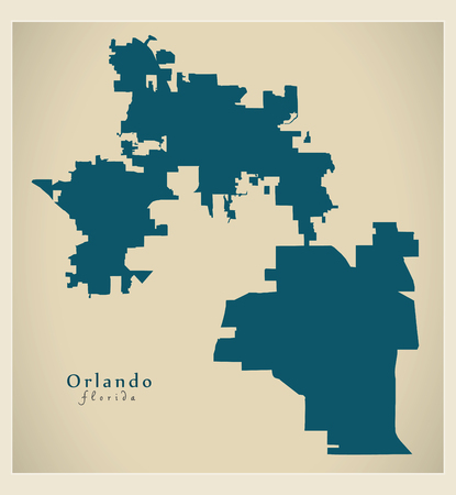Modern City Map - Orlando Florida city of the USA Illusztráció