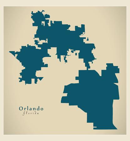Modern City Map - Orlando Florida city of the USA Illustration