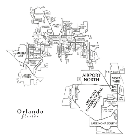 Modern City Map - Orlando Florida city of the USA with neighborhoods and titles outline map