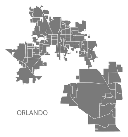 Orlando Florida city map with neighborhoods grey illustration silhouette shape