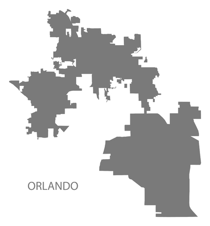 Orlando Florida city map grey illustration silhouette shape Illustration