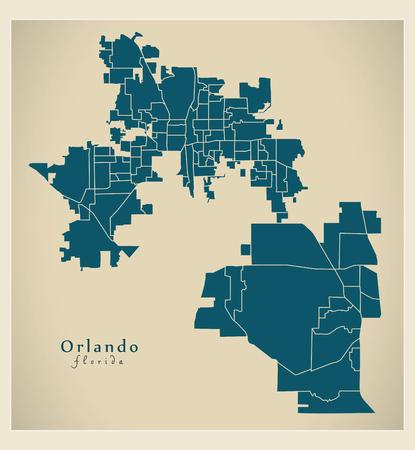 Modern City Map - Orlando Florida city of the USA with neighborhoods Ilustrace