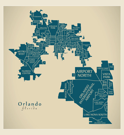 Modern City Map - Orlando Florida city of the USA with neighborhoods and titles