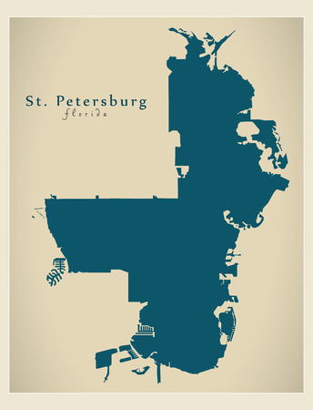 Modern City Map - St. Petersburg Florida city of the USA Illustration