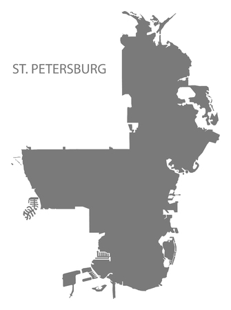 St. Petersburg Florida city map grey illustration silhouette shape