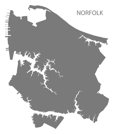 Norfolk Virginia city map grey illustration silhouette Illusztráció