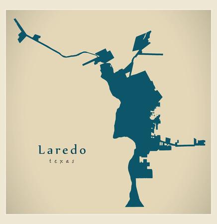 Modern City Map - Laredo Texas city of the USA