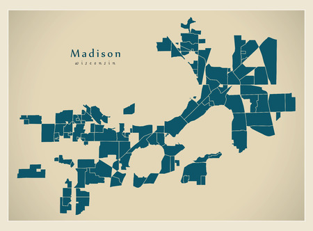 Modern City Map - Madison Wisconsin city of the USA with neighborhoods