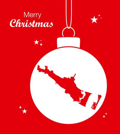 Merry Christmas illustration theme with map of Corpus Christi Texas