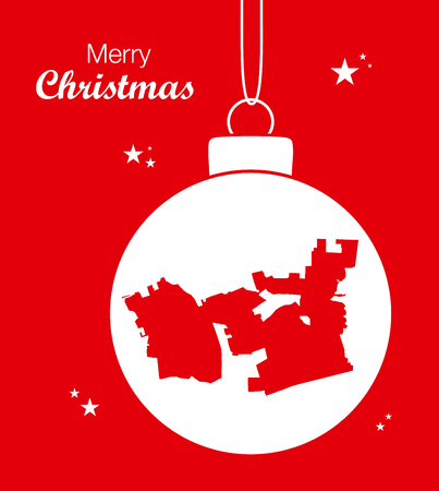 Merry Christmas illustration theme with map of Chula Vista California