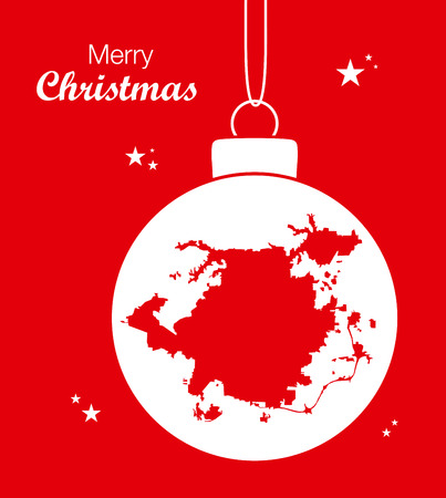 Merry Christmas illustration theme with map of Greensboro North Carolina 矢量图像