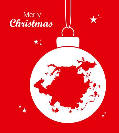 Merry Christmas illustration theme with map of Greensboro North Carolina Illustration