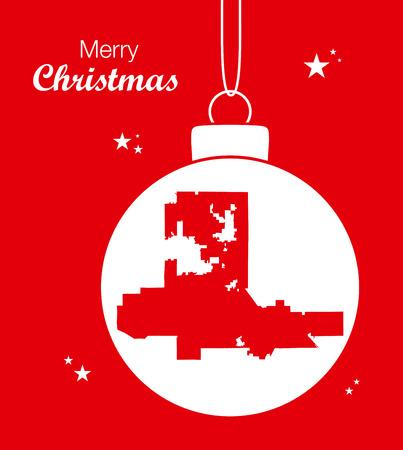 Merry Christmas illustration theme with map of Las Vegas Nevada