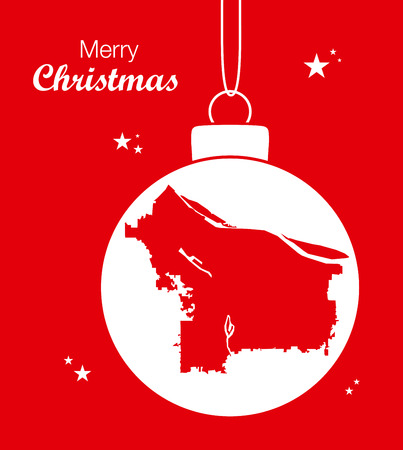 Merry Christmas illustration theme with map of Portland Oregon