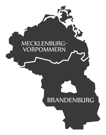 Mecklenburg Western Pomerania - Brandenburg federal states map of Germany black with titles