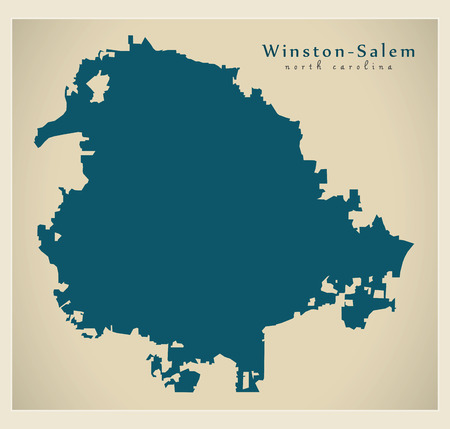 Modern City Map - Winston-Salem North Carolina city of the USA