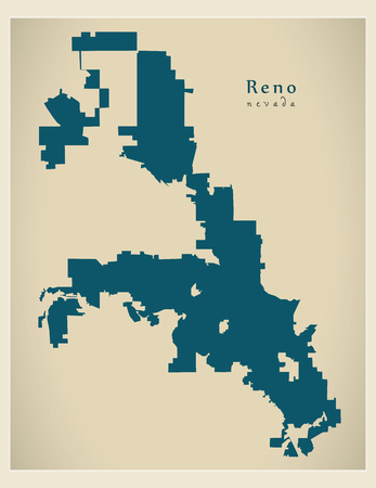 Modern City Map - Reno Nevada city of the USA