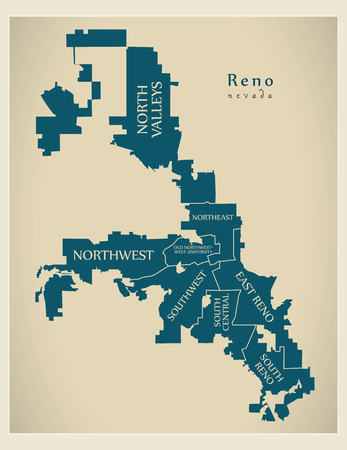 Modern City Map - Reno Nevada city of the USA with neighborhoods and titles