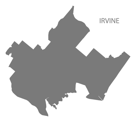 Irvine California city map grey illustration silhouette shape