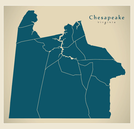 Modern City Map - Chesapeake Virginia city of the USA with neighborhoods