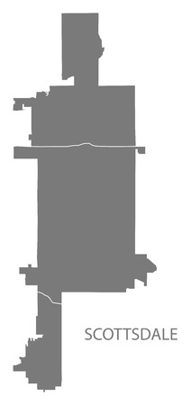 Scottsdale Arizona city map with neighborhoods grey illustration silhouette shape
