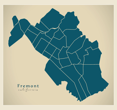Modern City Map - Fremont California city of the USA with neighborhoods