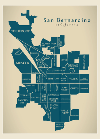 Modern City Map - San Bernardino California city of the USA with neighborhoods and titles
