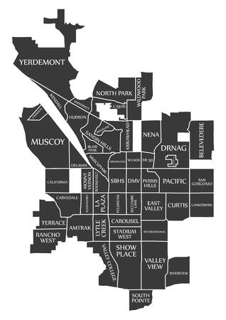 San Bernardino California City Map USA labelled black illustration