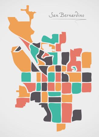 San Bernardino California Map with neighborhoods and modern round shapes