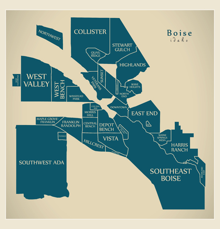 Modern City Map - Boise Idaho city of the USA with neighborhoods and titles