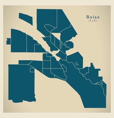 Modern City Map - Boise Idaho city of the USA with neighborhoods