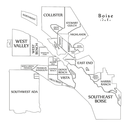 Modern City Map - Boise Idaho city of the USA with neighborhoods and titles outline map