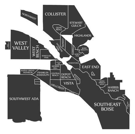 Boise Idaho City Map USA labelled black illustration