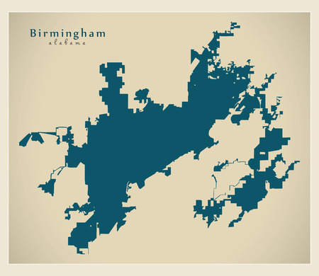 Modern City Map - Birmingham Alabama city of the USA