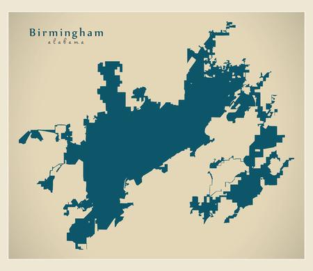 Modern City Map - Birmingham Alabama city of the USA