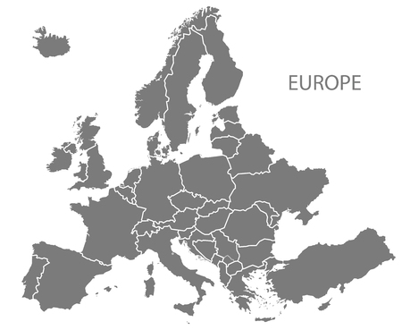Modern Map - Europe with updated states from 2019 in grey Illusztráció