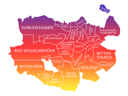 Kassel City Map Germany DE labelled rainbow colored illustration Imagens - 120178152