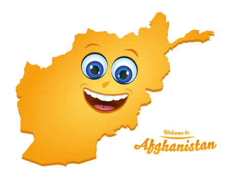 Welcome to Afghanistan smiley map illustration