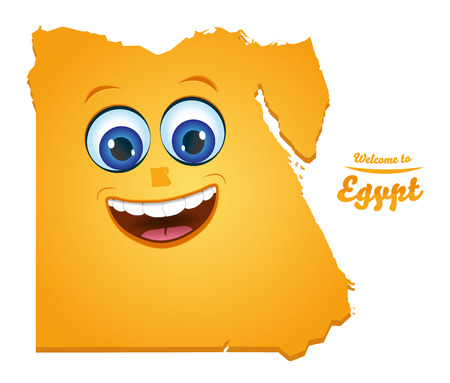 Welcome to Egypt smiley map illustration Vettoriali
