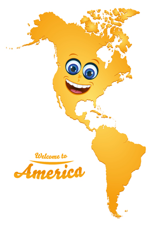 Welcome to America smiley map illustration