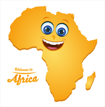 Welcome to Africa smiley map illustration