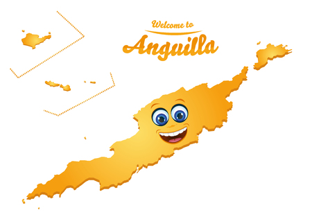 Welcome to Anguilla smiley map illustration 免版税图像 - 117804548