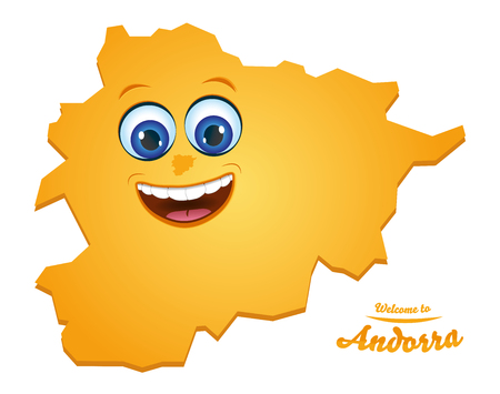 Welcome to Andorra smiley map illustration Illustration
