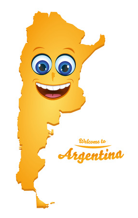 Welcome to Argentina smiley map illustration