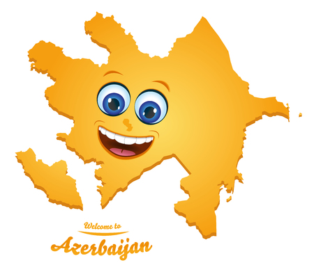 Welcome to Azerbaijan smiley map illustration Vettoriali