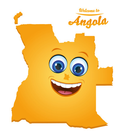 Welcome to Angola smiley map illustration